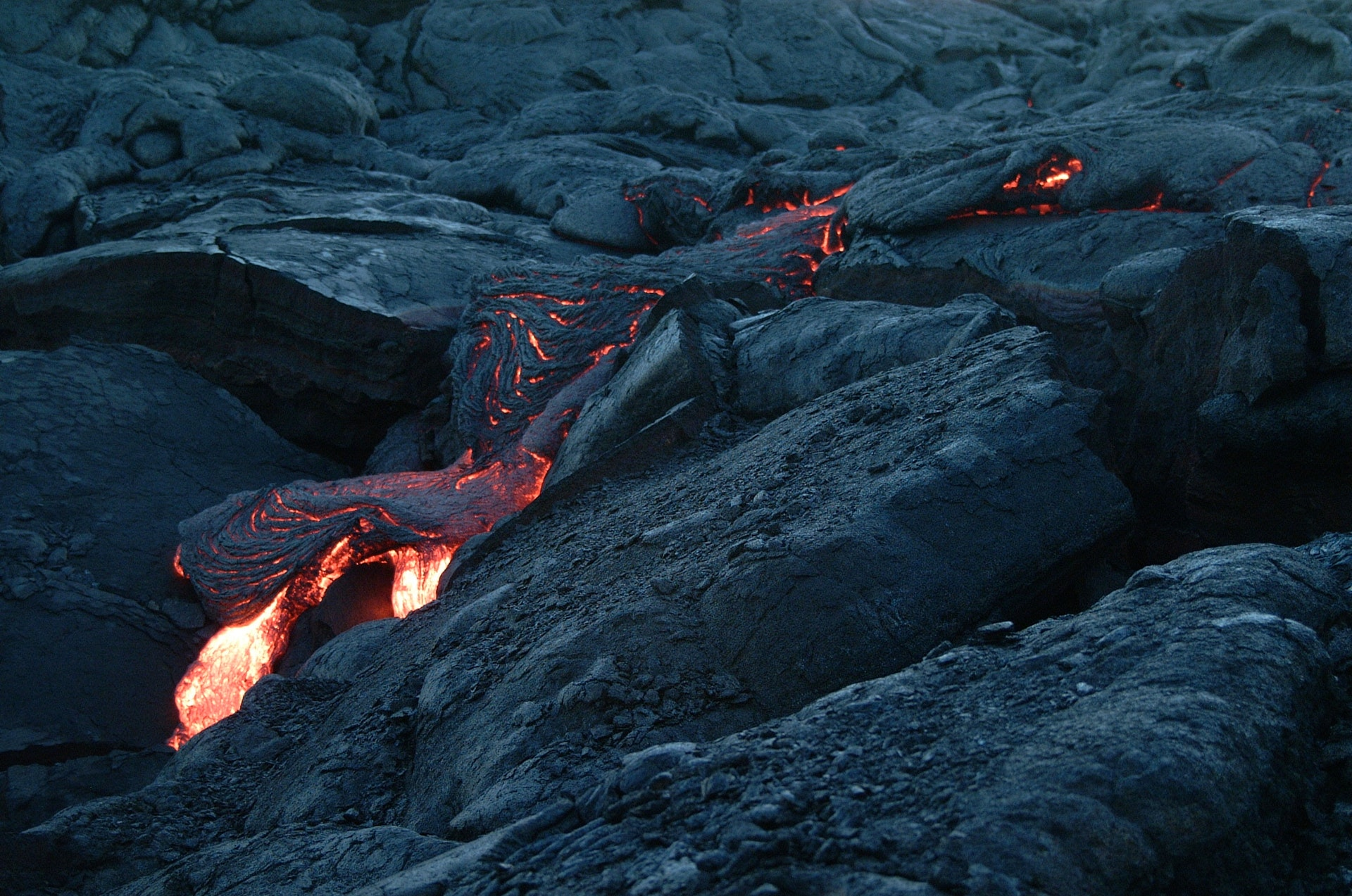 Magma flowing under cooled magma
